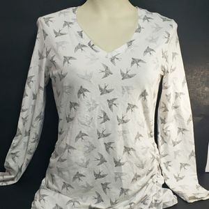 Kismet Silver and White Sparrow Patterned Top